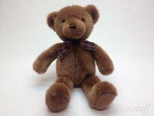 "GUND VTG RARE Brown Teddy Bear with Plaid Bow Red Orange Eyes 15"""