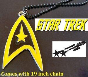 "* STAR TREK COMMAND pendant yellow Black color Collectible Comic con 19"" chain"