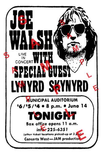 JOE WALSH 12x18 CONCERT POSTER THE EAGLES LYNYRD SKYNYRD GARY ROSSINGTON