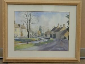 Original-watercolour-painting-of-Lower-Slauhgter-Gloucestershire-Frederick-Lea