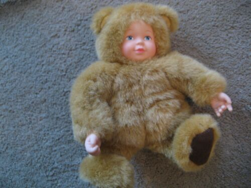 Beautiful Anne Geddes Fuzzy Bear Doll Baby Light Brown 7 8 inches MINT