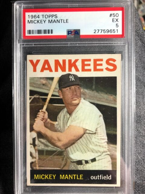 1964 Topps Mickey Mantle New York Yankees 50 Baseball Card For Sale Online Ebay