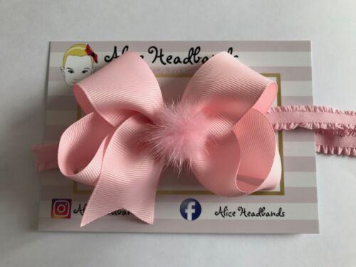 Baby Girls 10cm Bow Mink Faux Fur Bow Headband Hairband Hair Accessories Lot