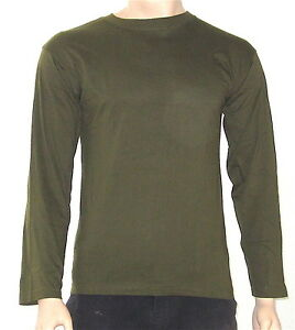 OLIVE-ARMY-MILITARY-GREEN-CREW-NECK-LONG-SLEEVE-T-SHIRT-LARGE-XXL-34-45-034-CHEST
