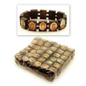 Viele 12 Heiliger Perlen Armband Griechisch Orthodox Braunes Holz Stretch Icon
