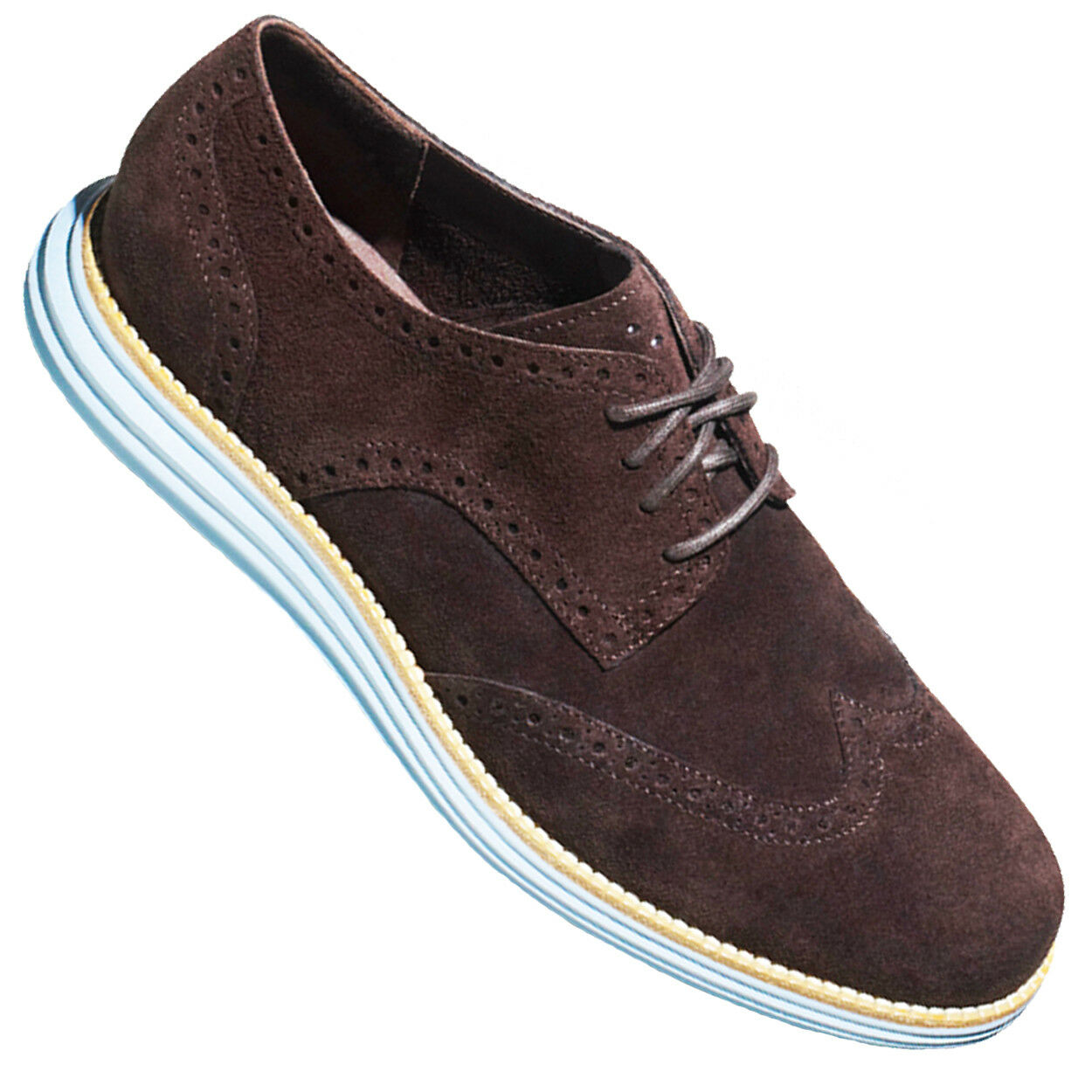COLE HAAN Lunargrand Wingtip Oxford Brown Suede Pelle Brogue Grey Lace Up 9