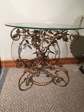 """Vintage Hollywood Regency Gold Gilt Metal Accent Table 18"""" X 20"""" ITALY"""
