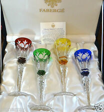 FABERGE GRAND PALAIS LIQUEUR CORDIAL AFTER DINNER GLASSES, CASED CRYSTAL
