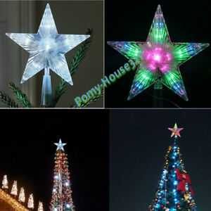 image is loading colorful christmas xmas tree topper star light led - Outdoor Christmas Tree Topper
