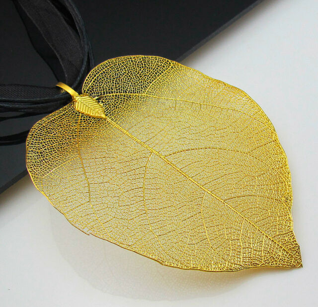 Dipped 18k gold plated real nature filigree leaf pendant organza dipped 18k gold plated real nature filigree leaf pendant organza necklace ebay aloadofball Choice Image