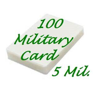 100-MILITARY-CARD-Laminating-Laminator-Pouches-Sheets-2-5-8-x-3-7-8-5-Mil-Gloss