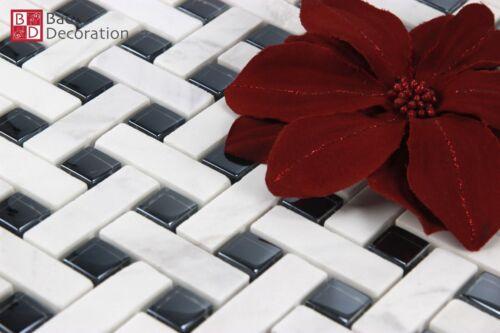 Glasmosaik marmoriert Mosaikfliesen Mosaik aus Glas marmoriert schwarz weiß 1m²