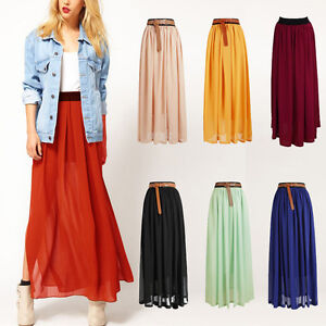 HOT-Womens-Lady-Double-Layer-Chiffon-Pleated-Long-Elastic-Waist-Maxi-Skirt-L4