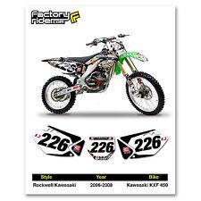 2006-2008 KAWASAKI KXF 450 Rockwell Dirt Bike Graphics Custom Number Plates