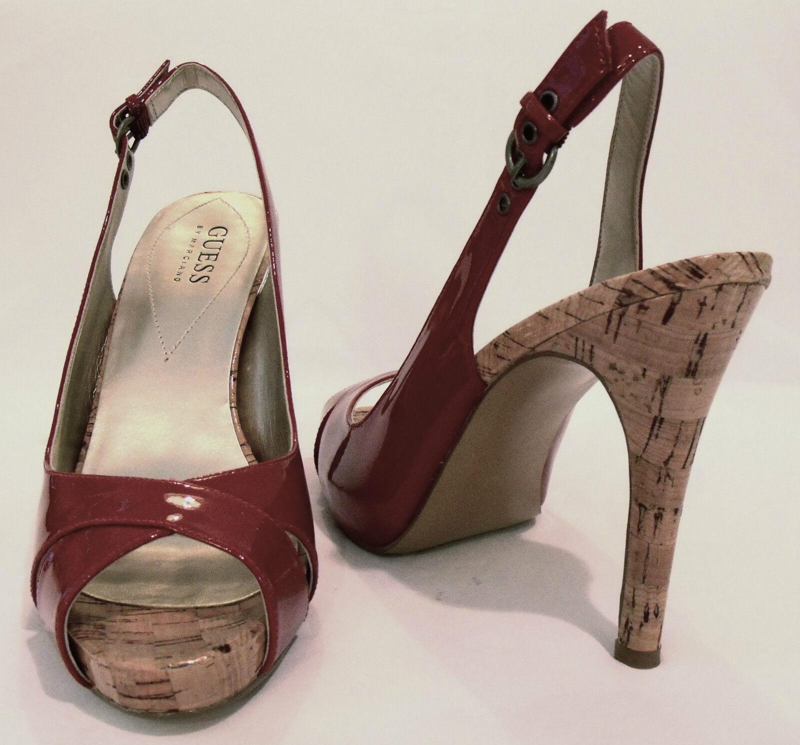 GUESS byMarciano(9.)4 inch Cork Heels ROTPat.LthrOpenToe DressSandale7.5MNWB.