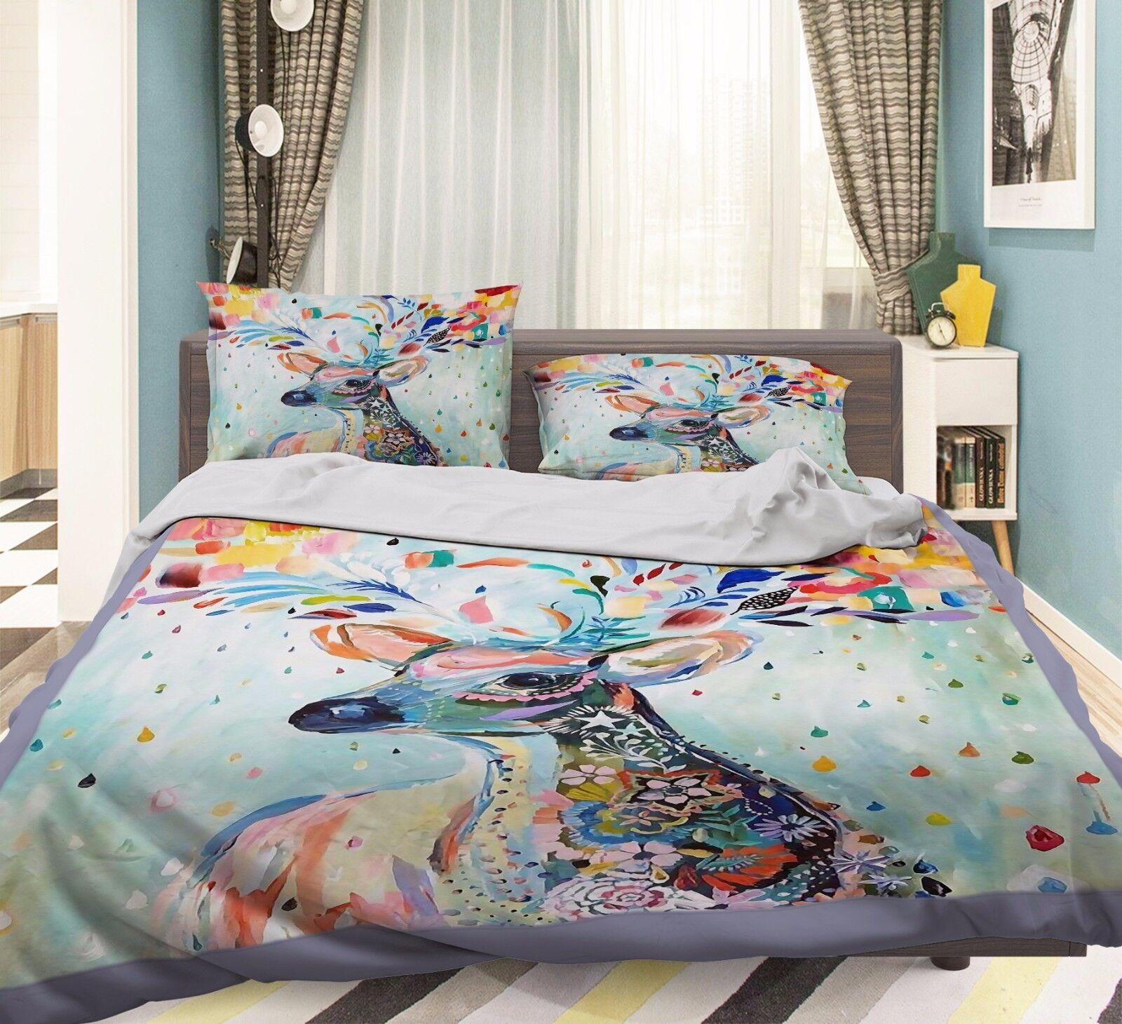 3D Paint Deer 908 Bed Pillowcases Quilt Duvet Cover Set Single Queen UK Summer