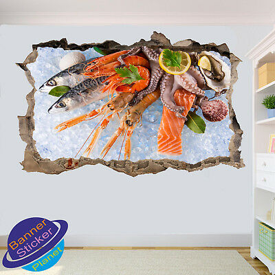 Sea Food Fish Prawn Shrimp Shell Wall Stickers Poster 3d Art Mural