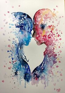 abstraction love original watercolor painting a3 signed