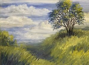 Original-Oil-Landscape-Painting-034-Tree-on-a-Hill-034-on-12x16-Painted-Edge-Canvas