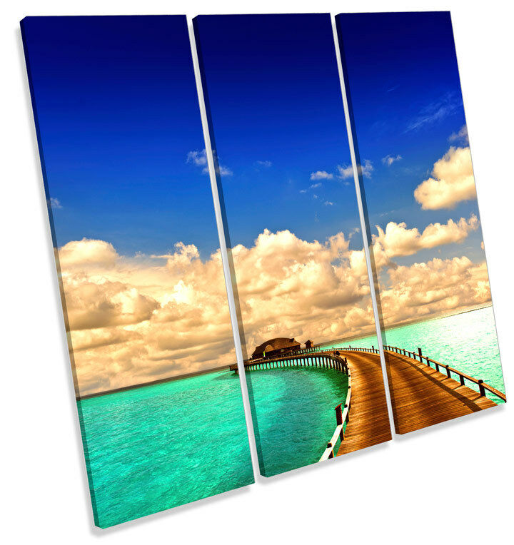 Tropical Sunset Seascape Jetty TREBLE CANVAS WALL ART Square Picture Print