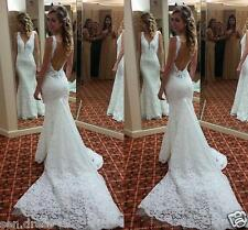 Bridal Gowns Wedding Dress Backless Lace Mermaid Long Open Black Custom Made