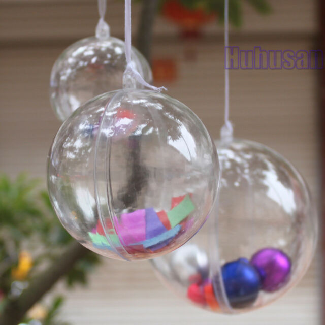 Clear Plastic Fillable Ball Cicle Hang Ornaments Favor Candy Sphere Sets Crafts