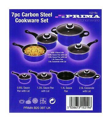 Attivo Blue Acciaio Al Carbonio Cookware Set 7pc Pentole E Pan Induzione Set Coperchio In Vetro Battenti-mostra Il Titolo Originale