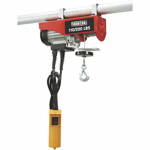 Single Line Capacity 38ft.//19ft Strongway Electric Cable Hoist Double Line Capacity Lift 750-Lb 1500-Lb