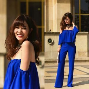NWT ZARA BLUE FLOWING OFF THE SHOULDER LONG JUMPSUIT WITH FRILL REF. 2784/840 XS