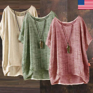 Plus-Size-Womens-Summer-Casual-Solid-Blouses-Loose-Baggy-Tops-Tunic-T-Shirts