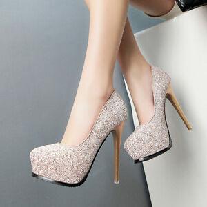 Schuhe-Pumps-12-CM-Rosa-Strass-Plateau-4-CM-Komfortabel-Leder-Kunststoff-7045