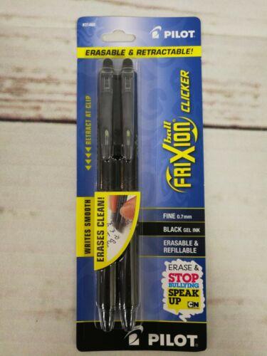Pilot FriXion Clicker Retractable Erasable Gel Ink Pens 2 Pack Black Ink 31460