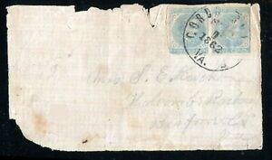 Confederate Adversity Cover Pair 5¢ J.Davis 1862 Gordonsville ? Va Bank Paper