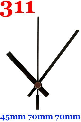 Funkuhrwerk DCF Funk Radio lautlos geräuschlos Uhrzeiger Satz Schwarz 70 mm #311