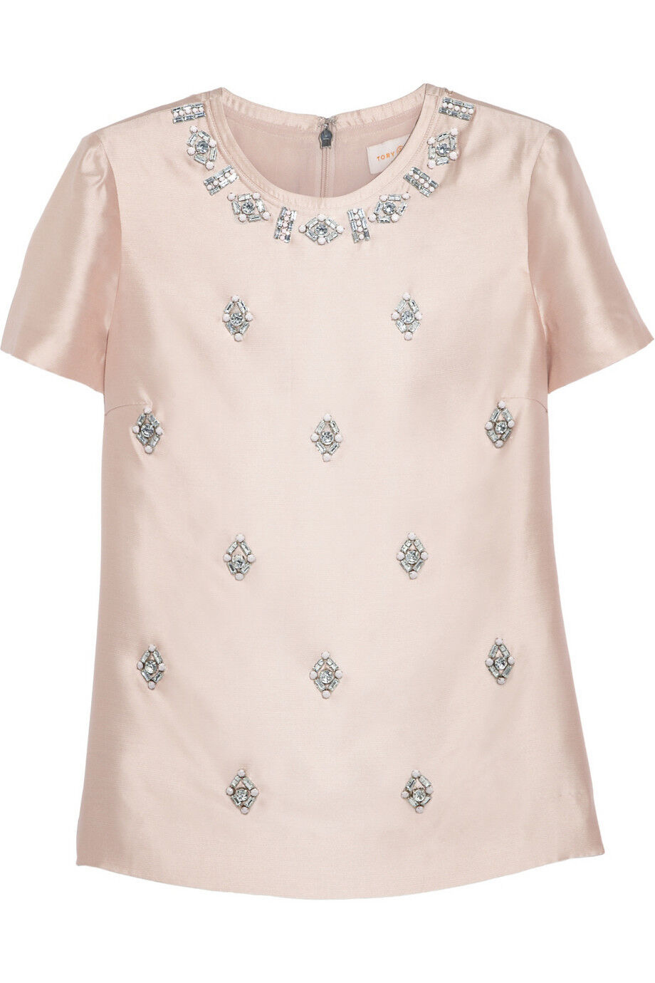 NWT Tory Burch Bead Embellished Woven Silk Top Größe 0