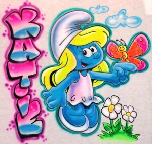 The-Smurfs-Airbrush-Smurfette-T-Shirt-Personalized-amp-Airbrushed-w-your-Name
