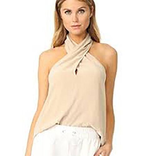 Theory Women/'s Low Back Silk Ertil Silk Halter Blouse Sz S Warm Ivory NWT 295 IR