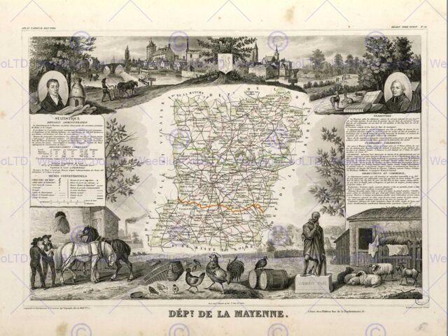 MAP OLD FRANCE LEVASSEUR CORSICA DEPARTMENT POSTER ART PRINT BB12021B