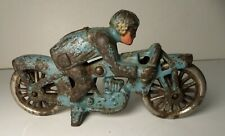 Vintage Cast Iron Toy Motorcycle Hubley Peashooter Racer #7 Blue 1930's Speed