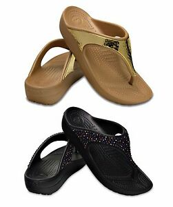 CROCS-SLOANE-EMBELLISHED-FLIP-W-women-039-s-shoes-FLIP-flops-sandals-slippers-wedge
