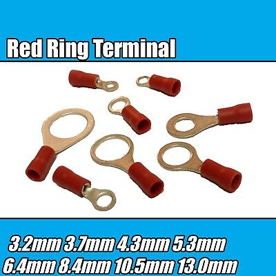 50 x Red 13mm Insulated Crimp Ring Terminal