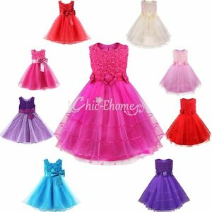 Baby-Girl-Rose-Flower-Princess-Party-Formal-Christening-Wedding-Bridesmaid-Dress
