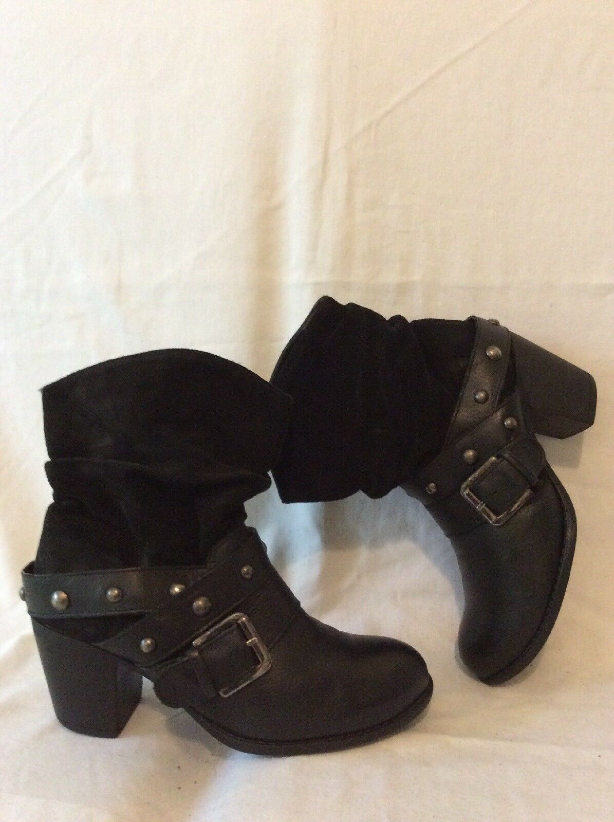 New Look Black Mid Calf Leather Boots Size 37