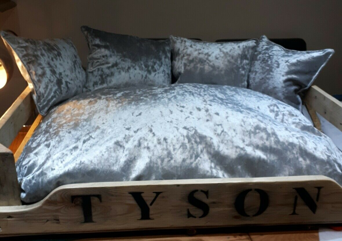 Large personalised wooden dog cat bed with luxury crushed velvet cushions