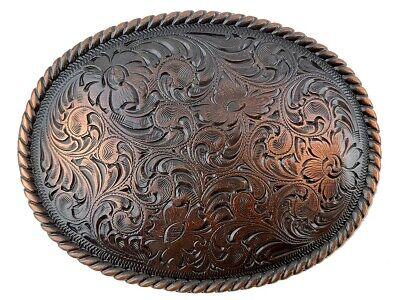 """WESTERN COWBOY ANTIQUE FLORAL ENGRAVED ROPE EDGE BUCKLE SET FITS 1-1//2/"""" BELT"""