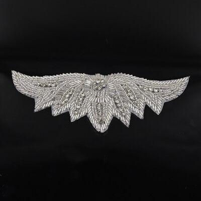 fd08f4c12d Beaded Rhinestone Applique Leaf Shape Sew/Iron on Wedding Dress Sash Trim  Silver   eBay