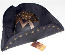 PIRATES OF CARIBBEAN Captain Blackbeard BUCCANEER Suede Black TRICORN HAT S/M