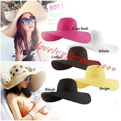 Women Large Floppy Folderable Straw Kentucky Derby Beach Sun Hat Cloche Cap