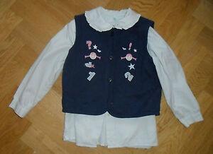 Maedchen-Bluse-und-Weste-mit-Stickerei-Gr-104-Prenatal