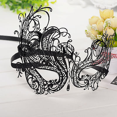 Rhinestone Laser Cut Black Metal Venetian Masquerade Mask Women Party Ball BMJ03